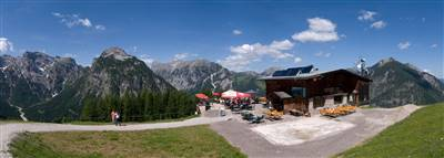 Berggasthof mit Bergpanorama