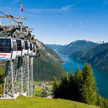 Mountain railway with a view of Lake Achensee
