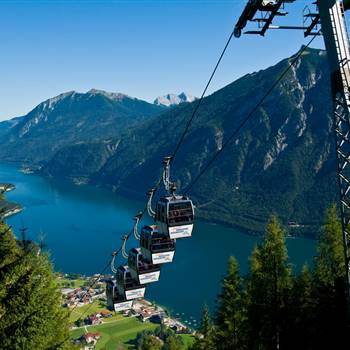 Departing cable car overlooking the Lake Achensee