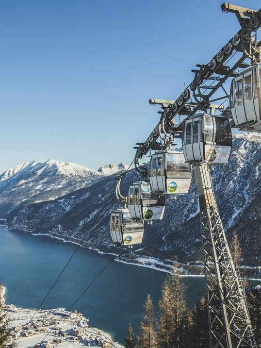 Gondola lift during winter at the Achensee