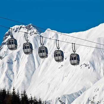 Cable car gondolas in winter